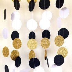 Jumbo Great Gatsby Themed Wedding Garland,Paper Garland Black White Gold Bridal Shower, Baby Shower, Birthday Party, Party Decor, Gold by Spiceandsprinkle on Etsy https://www.etsy.com/listing/249729855/jumbo-great-gatsby-themed-wedding