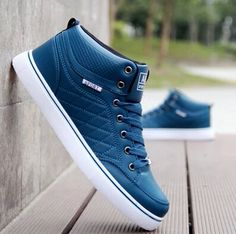 2016 New Men Breathable Casual Shoes Autumn Spring Men White/Black/Blue PU Leather Shoes Men Shoes Classic Sneakers, Best Sneakers, Sneakers Fashion, Fashion Shoes, Mens Fashion, High Top Sneakers, Mens Smart Casual Shoes, Comfortable Mens Dress Shoes, Lacoste