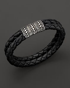 Mens Dot Silver Black Woven Leather Bracelet - Lyst
