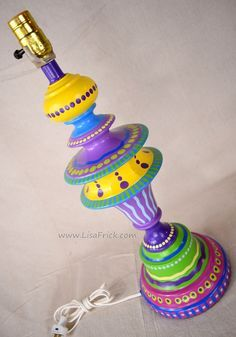 Hand Painted Table Lamp and Shade #013- Fun Funky Whimsical and ...