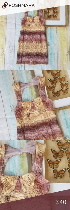 Free People Pink Lace Keyhole BodyCon Mini Dress 4 Whimsical and romantic style, fitted bodycon. Pink lace with stripes in tan or almost pale yellow color. Keyhole back detail, mini lemgth. Made by Free People, size 4. In good condition Free People Dresses Mini