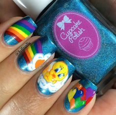 Tweety Bird & rainbow nail art