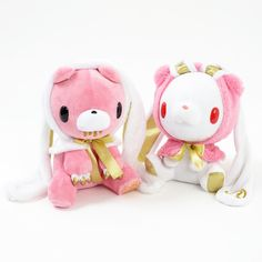 In honor of their **10th anniversary**, we're pleased to offer these exceptionally gorgeous **plushies** of **Gloomy** and **Hanyo Usagi**!     The two get along quite well, so it makes sense that they're commemorating the occasion with Glommy wearing a **long bunny-eared cap** and Hanyo Usagi sporting a **bear-eared cap**.     The expert use of pink, white, and gold give these two an almost elega... #plushie