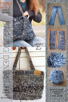 Crochet or knit denim bags from old jeans - Making your own yarn from recycled materials or clothing is a great way to DIY your wardrobe.