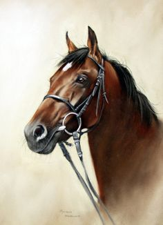 ARTFINDER: Motivator by Brian Halton - This is a head study of Derby winning horse Motivator.  The painting was done after a visit to York Races.  I took the reference photos of him as he was bein...