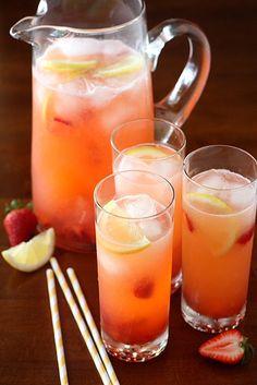 Easy Strawberry Lemonade - add strawberries to store bought Simply Lemonade