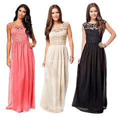 Women Backless Lace Formal Bridesmaid Long Chiffon Evening Party Dress Prom Gown #Fashion #BallGownBridesmaidEveningLongTulleDress #CasualCocktailFormalWeddingPartyPromBall