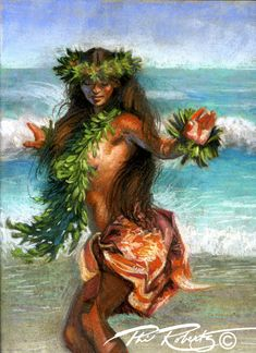 wave dance Hula girl surf art Island art painting by Phil Roberts