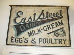 antique trade signs | Antique Trade Sign Hand Painted Dairy Eggs Milk Cream Estreet ...