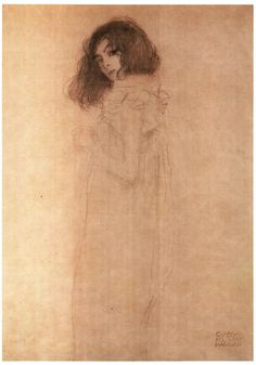 Gustav Klimt, drawing of a girl.