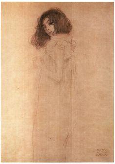 Gustav Klimt, desenho de uma menina.