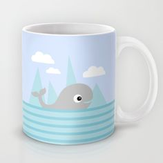 Cute whale mug for kids on society6 by Limitation Free