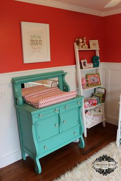Delight {coral, teal and white nursery}. Love this Aqua changing table Red Nursery, Nursery Room, Girl Nursery, Nursery Ideas, Turquoise Nursery, Nursery Decor, Room Ideas, Big Girl Rooms, Project Nursery