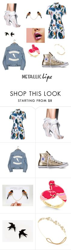 """Untitled #54"" by therealtomato ❤ liked on Polyvore featuring beauty, House of Holland, Leg Avenue, Understated Leather, Converse, Kate Spade, Jennifer Behr and metalliclips"