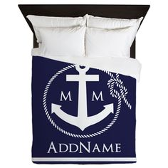 Navy Nautical Rope and Anchor Monogram Queen Duvet on CafePress.com