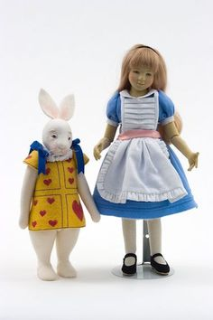 Alice and Rabbit - felt molded limited edition art doll by Maggie Iacono