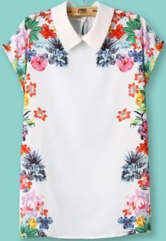 White Lapel Short Sleeve Floral Slim Blouse $15