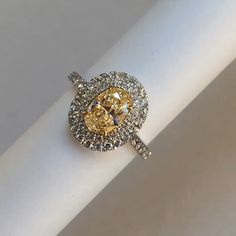 Instagram photo by @weddingdaydiamonds Check out the sparkle on this fancy yellow oval diamond engagement ring!!! So gorgeous!