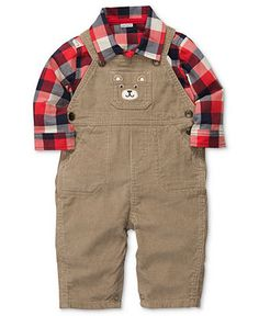 Carter's Baby Set, Baby Boys 2-Piece Plaid Shirt and Overall Set - Kids Baby Boy (0-24 months) - Macy's