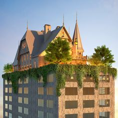 """Philippe Starck designs """"phantasmagoric"""" hotel topped with a house"""