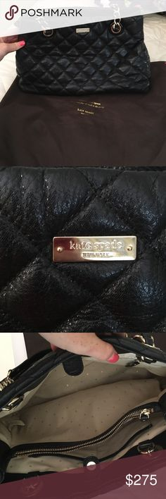 Kate spade black bag! Great bag with tons of pockets on the inside! Comes with the dust bag and is in great condition! Only used a hand full of times! Large bag that fits a ton kate spade Bags