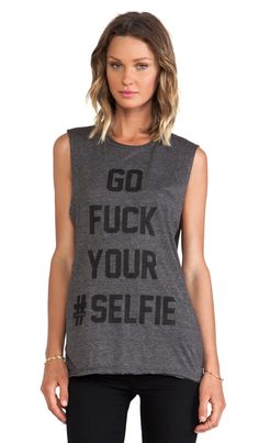 The Laundry Room Selfie Thrashed Muscle Tee in Charcoal