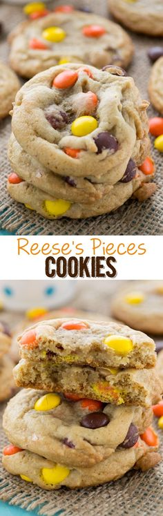 Reeses Pieces Cookies - the perfect chocolate chip cookie recipe made with Reese's Pieces!
