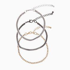 Set de bracelets argenté, doré et noir