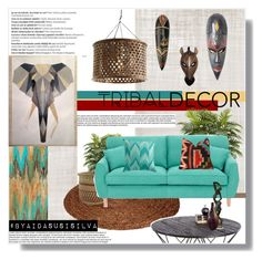 """Tribal Decor"" by aidasusisilva ❤ liked on Polyvore featuring interior, interiors, interior design, home, home decor, interior decorating, Jayson Home, Fearne Cotton, Sunpan and NOVICA"