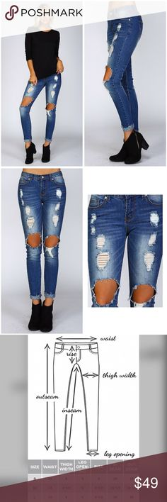 Ripped Denim skinny jeans! So cute! • Denim mid rise skinny jeans • Washed, faded, destroyed, distressed, and ripped • Rough leg opening hemming for easy cuffing • Standard 5 pocket design with rivets • Stretchable Jeans Skinny