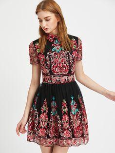Kleid mit besticktem Mesh - schwarz- German SheIn(Sheinside) Hübsche Kleider,  Wolle ab804b67a2