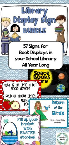All 5 Library Display Sign packages in one BUNDLE for a savings to you! Your library displays can be MADE EASY with these 57 colorful ready-made signs that you can use year after year. $