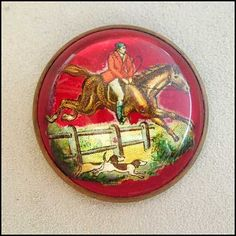 Antique Pin Glass Dome Horse Bridal Brooch 1940s Vintage Jewelry
