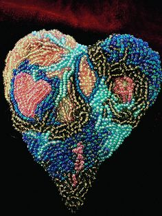 Beaded Heart. Is this beadwork? Is this embroidery? It is certainly beautiful!