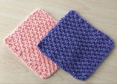 Knit and Purl Dishcloths | Dishcloths are a great way for beginner knitters to practice their skills.