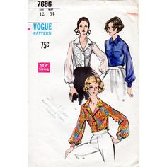 1960s Blouse Pattern Vogue 7686 Vintage Sewing by BessieAndMaive
