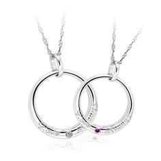 Couples 925 Sterling Silver Necklaces Pendants Matching Set Gift for Anniversary, Birthday, Wedding, Valentine's Day-5050 at $68.99