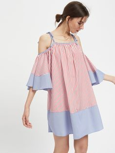 Tie Shoulder Striped Flute Sleeve Dress -SheIn(Sheinside)