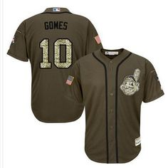 Indians #10 Yan Gomes Green Salute to Service Stitched MLB Jersey
