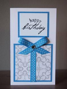 Blue Gift Birthday Card by IvoryLeaf on Etsy, $3.50