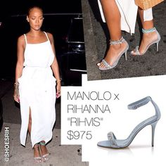 "Manolo Blahnik x Rihanna strappy ""Rihvis"" light denim sandals with jewels $975, @badgalriri"