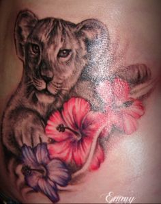 8b648546b lioness tattoo with flowers - Google Search