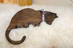 Handmade cat shaped wooden key holder, hooks, wall mounted, home decor, silhouette