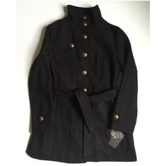 "Military inspired Peacoat - black Gorgeous military inspired black coat with brass buttons. Collar can be buttoned up along neck or fold down flat. Belt adds feminine fashionable touch. Fully lined. Poly blend shell and lining. Length 33"" bust 19"" Jackets & Coats Pea Coats"