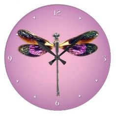 Dragonfly - silver, gold, purple and black clock