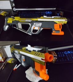 Hyperion: Hyperfire w/Centurion stock and half grip integration : Nerf Airsoft, Modified Nerf Guns, Cool Nerf Guns, Lego Hogwarts, Power Rangers Toys, Nerf Mod, Steampunk Weapons, Gaming Room Setup, Tech Toys