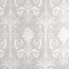 Josette White/Dove Grey Damask Wallpaper at Laura Ashley