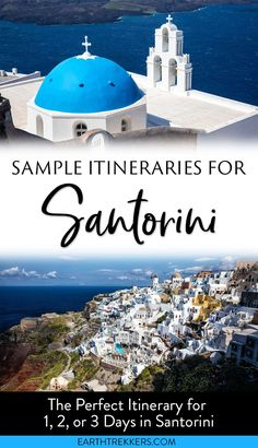 Sample Santorini itineraries for 1, 2, and 3 days in Santorini, Greece. #santorini #greece #itinerary #bucketlist