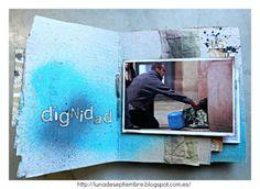 scrapbook solidario; scrapbook; mini desestructurado; mix media; multi material; #nadiedurmiendoenlacalle; tintas en esprai; ideas