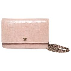 fb3e3371837d Chanel Wallet on a Chain in Blush Pink Alligator. 1stdibs.com